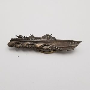 WWII PT Cruiser Boat Sterling Tie Bar